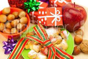 Dish, cookies, nuts, apple, bows, boxes, gifts, Christmas balls