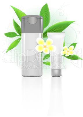 SPA cosmetics series. Cosmetics bottles vector illustration on white