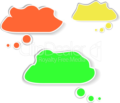 Paper speech bubble cloud set
