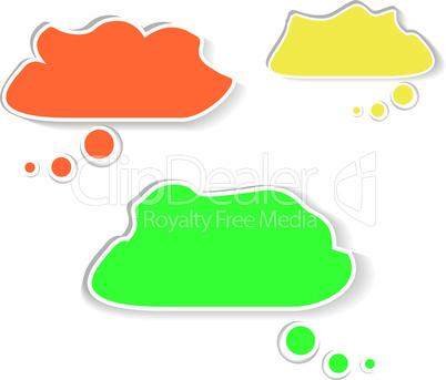 Paper speech bubble cloud set