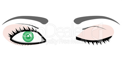 girl green Eyes isolated on white vector