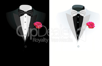 vector black business suit on black and on white background