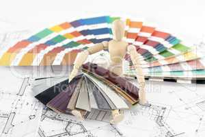 wooden man, a palette of colors designs for interior works, samp