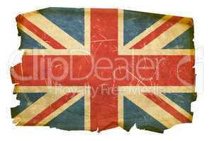 United Kingdom Flag old, isolated on white background