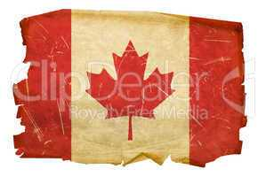 Canada Flag old, isolated on white background