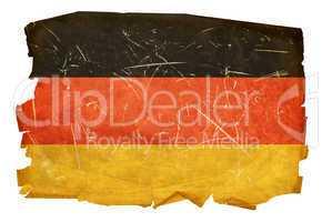 Germany Flag old, isolated on white background.