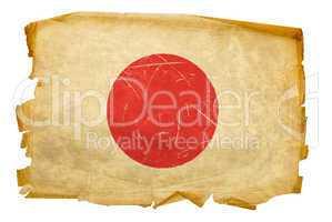 Japan Flag old, isolated on white background.