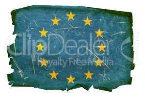 Europe Flag old, isolated on white background.