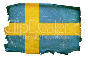 Sweden Flag old, isolated on white background.
