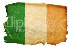 Ireland Flag old, isolated on white background.