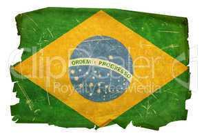 Brazil Flag old, isolated on white background