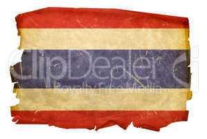 Thailand Flag old, isolated on white background