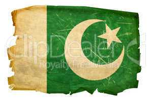 Pakistan Flag old, isolated on white background.