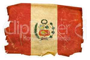 Peru Flag old, isolated on white background.