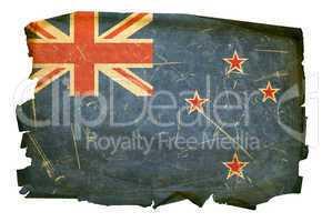 New Zealand Flag old, isolated on white background.