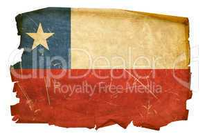 Chile Flag old, isolated on white background.