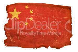 China Flag old, isolated on white background.