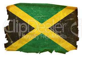 Jamaica Flag old, isolated on white background.