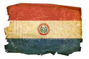 Paraguay Flag old, isolated on white background.