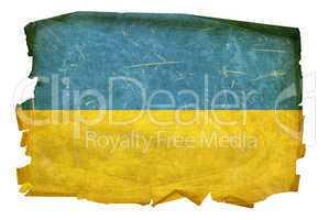Ukraine Flag old, isolated on white background.