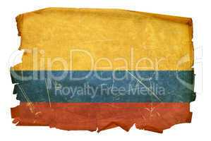 Colombia Flag old, isolated on white background.