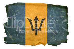 Barbados Flag old, isolated on white background.