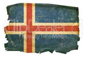 Iceland Flag old, isolated on white background