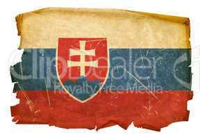 Slovakia Flag old, isolated on white background.