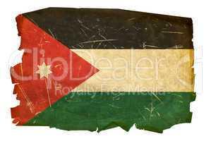 Jordan Flag old, isolated on white background.