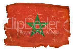 Morocco Flag old, isolated on white background.