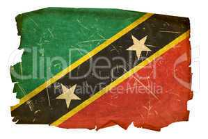 Saint Kitts and Nevis Flag old, isolated on white background.