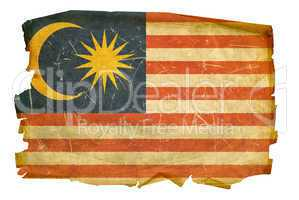 Malaysia Flag old, isolated on white background.