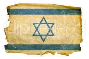 Israeli Flag old, isolated on white background.