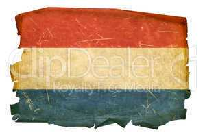 Dutch Flag old, isolated on white background.