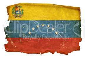 Venezuela Flag old, isolated on white background.