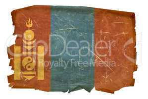 Mongolia Flag old, isolated on white background.
