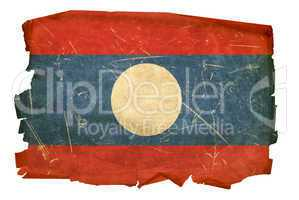 Laos Flag old, isolated on white background.