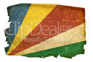 Seychelles Flag old, isolated on white background.