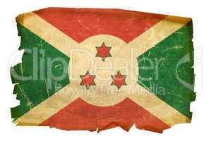 Burundi Flag old, isolated on white background.