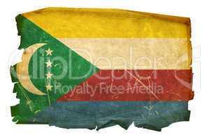 Comoros Flag old, isolated on white background.