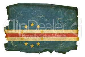 Cape Verde Flag old, isolated on white background