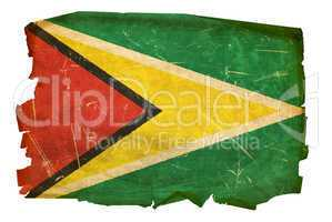 Guyana Flag old, isolated on white background.