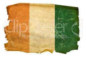 Ivory Coast flag old, isolated on white background
