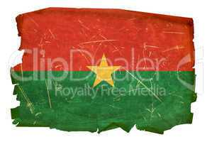Burkina Faso flag old, isolated on white background