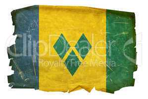 Saint Vincent and the Grenadines flag old, isolated on white bac