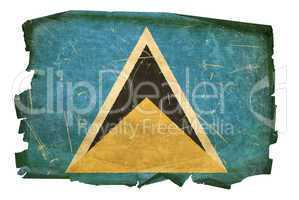 Saint Lucia flag old, isolated on white background