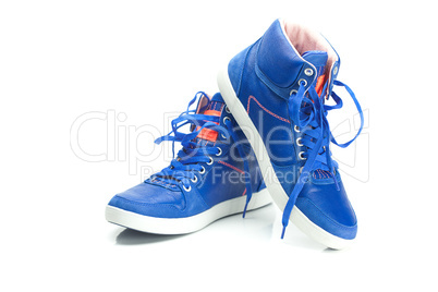 beautiful blue athletic shoes isolated on white