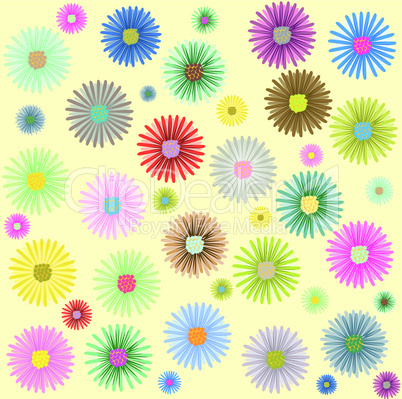 colored flowers  pattern