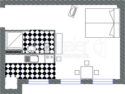 one room vector sketch