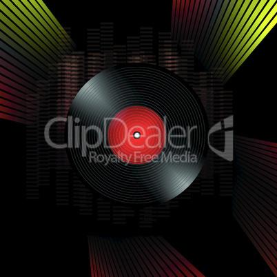 vinyl record grunge composition